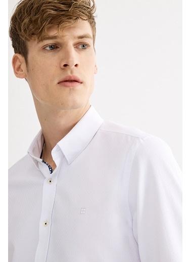 Avva Erkek  Armürlü Alttan Britli Slim Gömlek A01S2283 Beyaz
